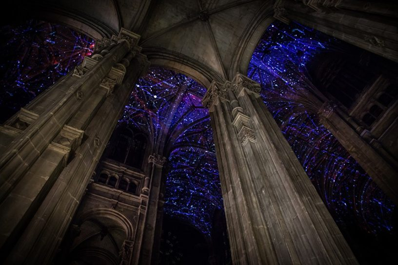 projection mapping in the church