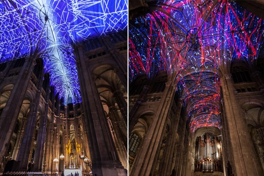 Artist's light show in the church